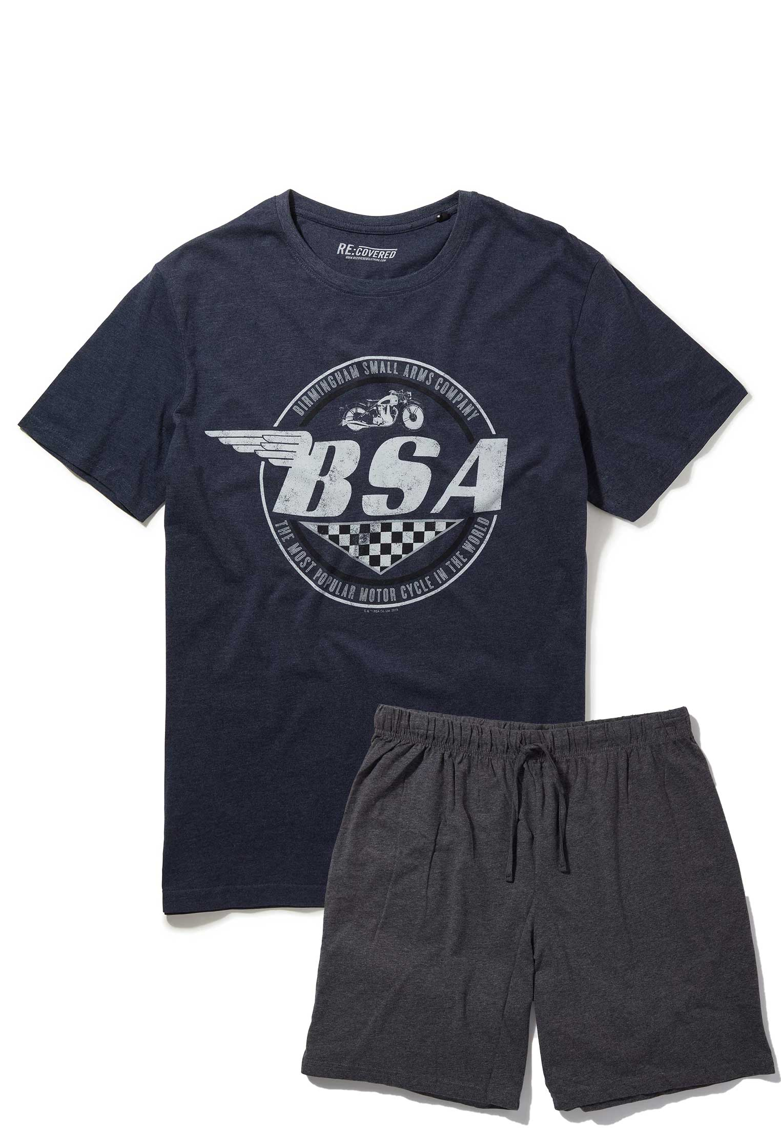 BSA Motorbike Wings Logo Navy and Charcoal Pyjama Set by Re:Covered