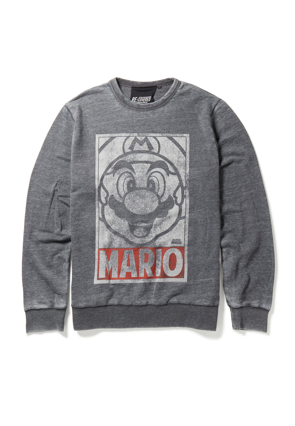 Recovered Super Mario Vintage Tonal Face Charcoal Sweatshirt