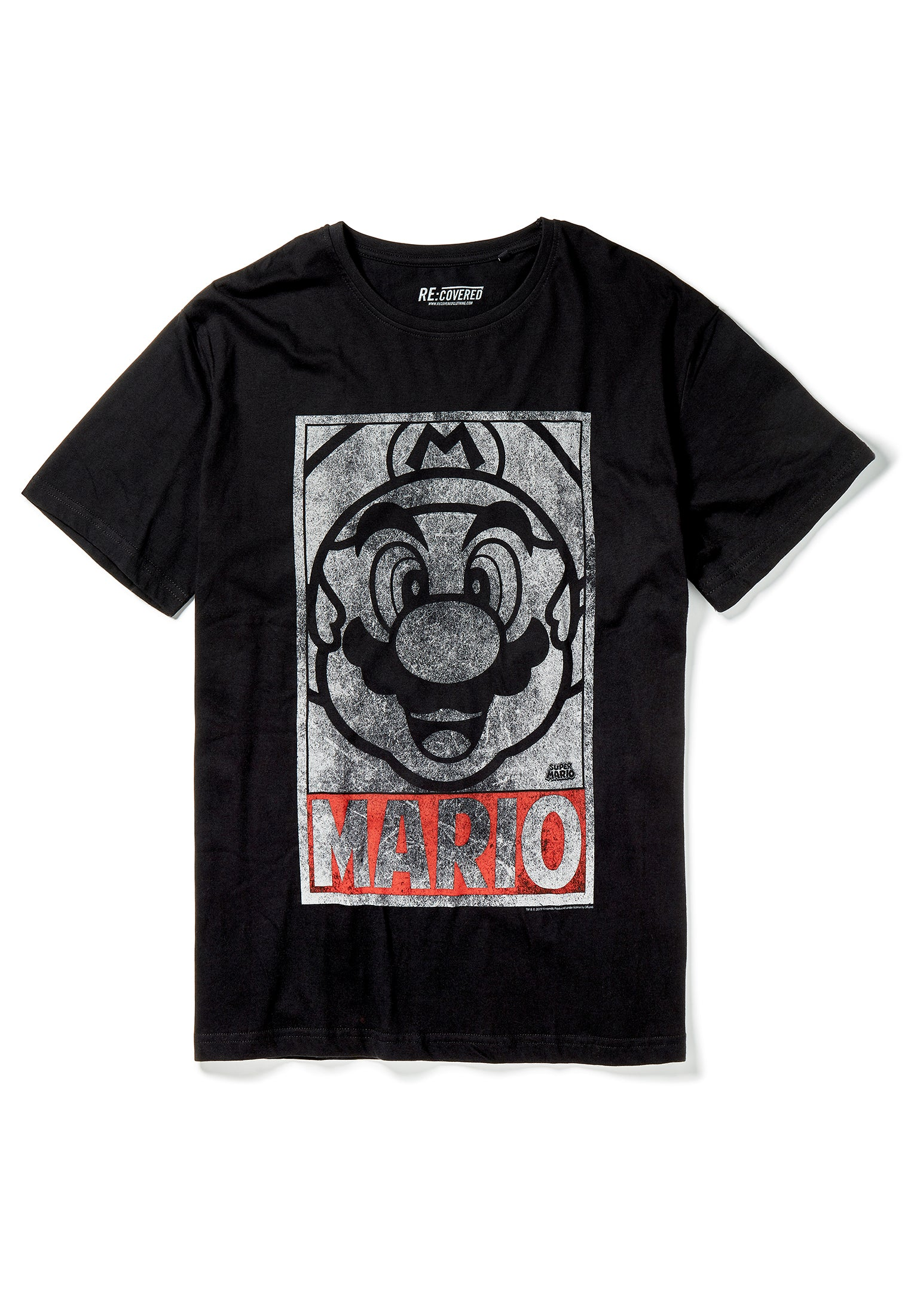 Recovered Super Mario Vintage Tonal Face Black and Charcoal Pyjama Set