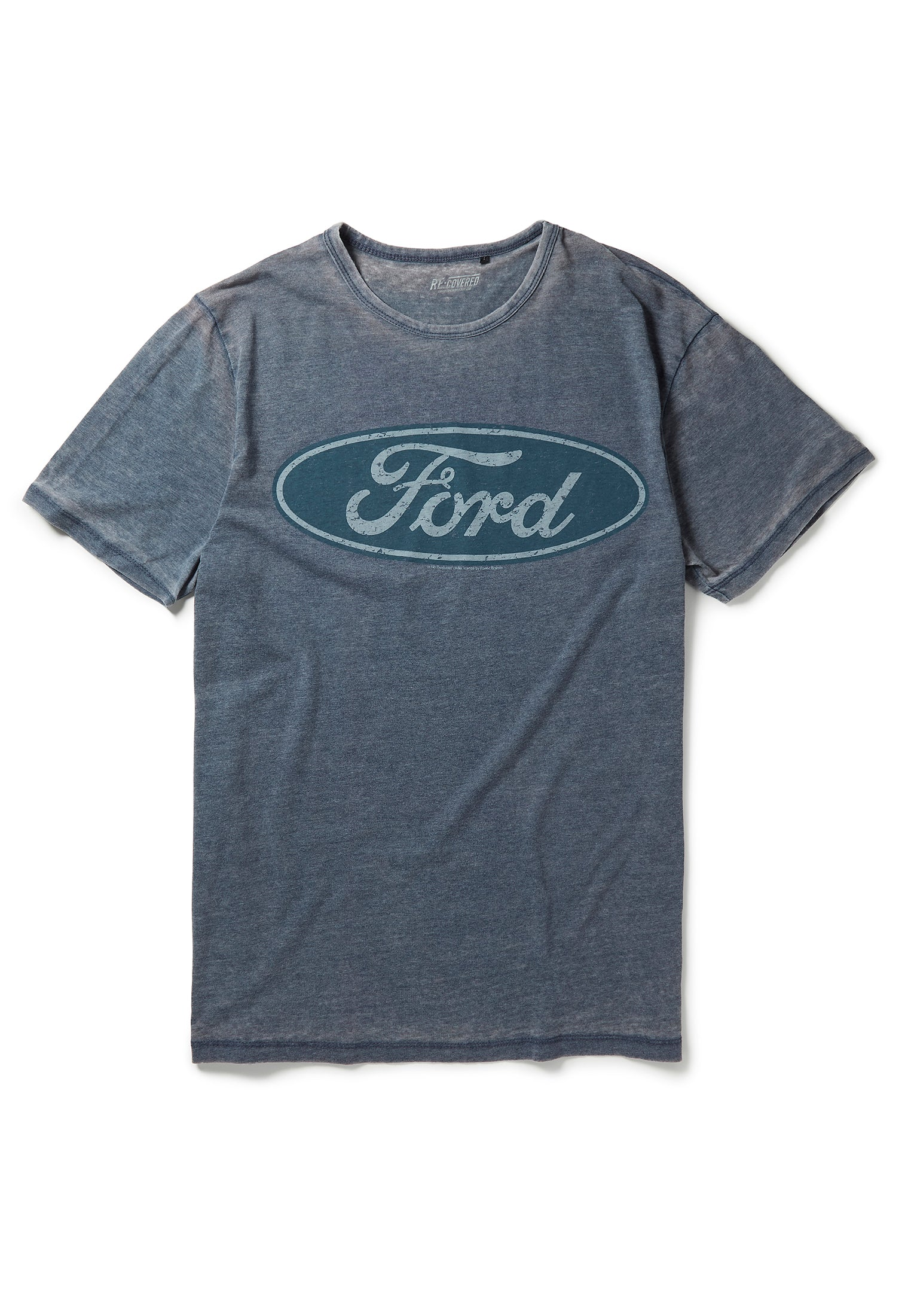 Recovered Ford Vintage Distressed Logo Blue T-Shirt