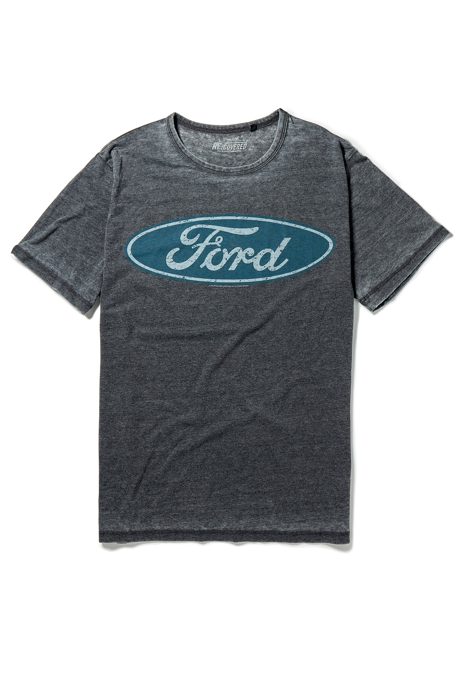 Recovered Ford Vintage Distressed Logo Charcoal T-Shirt