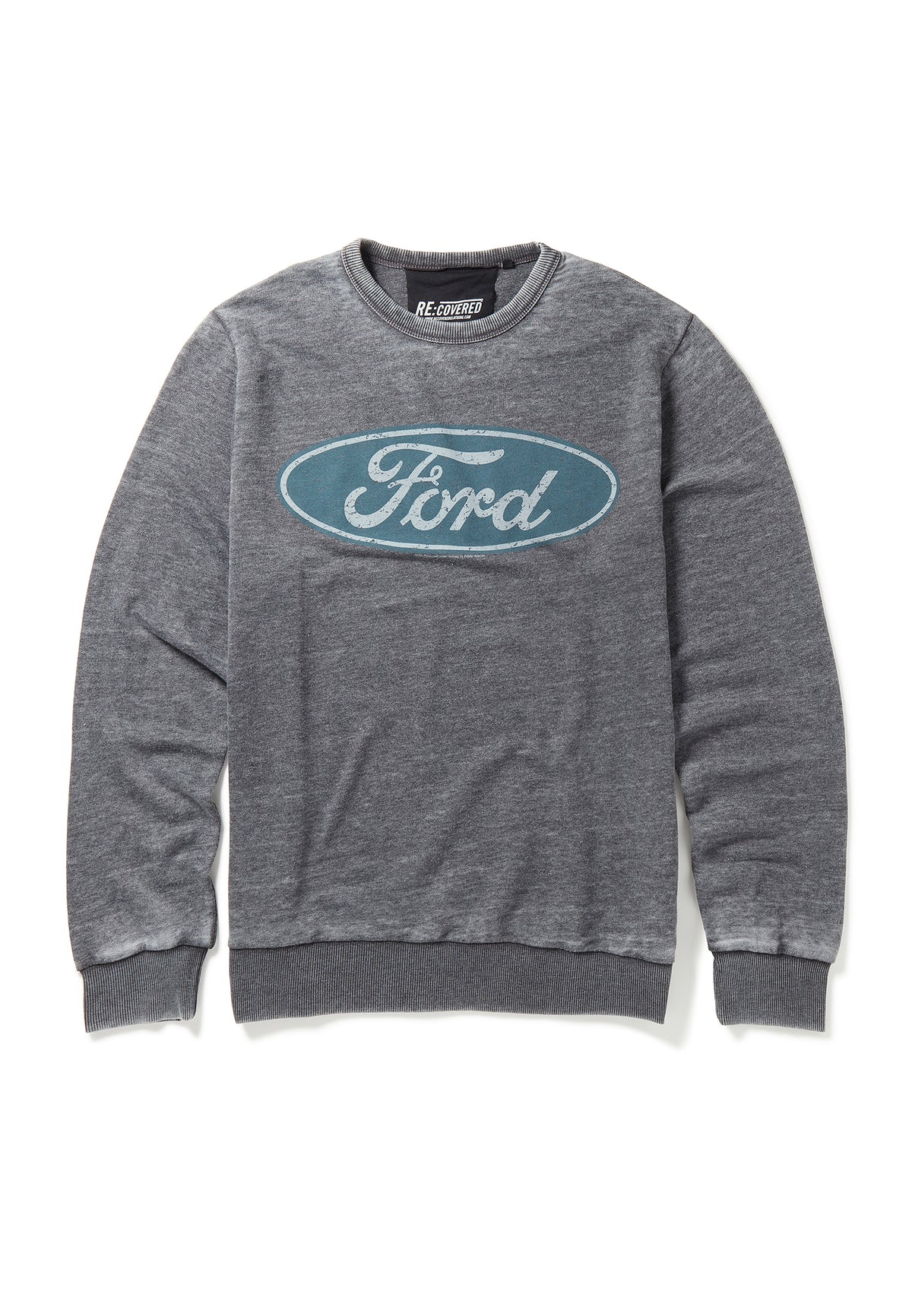 Recovered Ford Vintage Distressed Logo Charcoal Sweatshirt