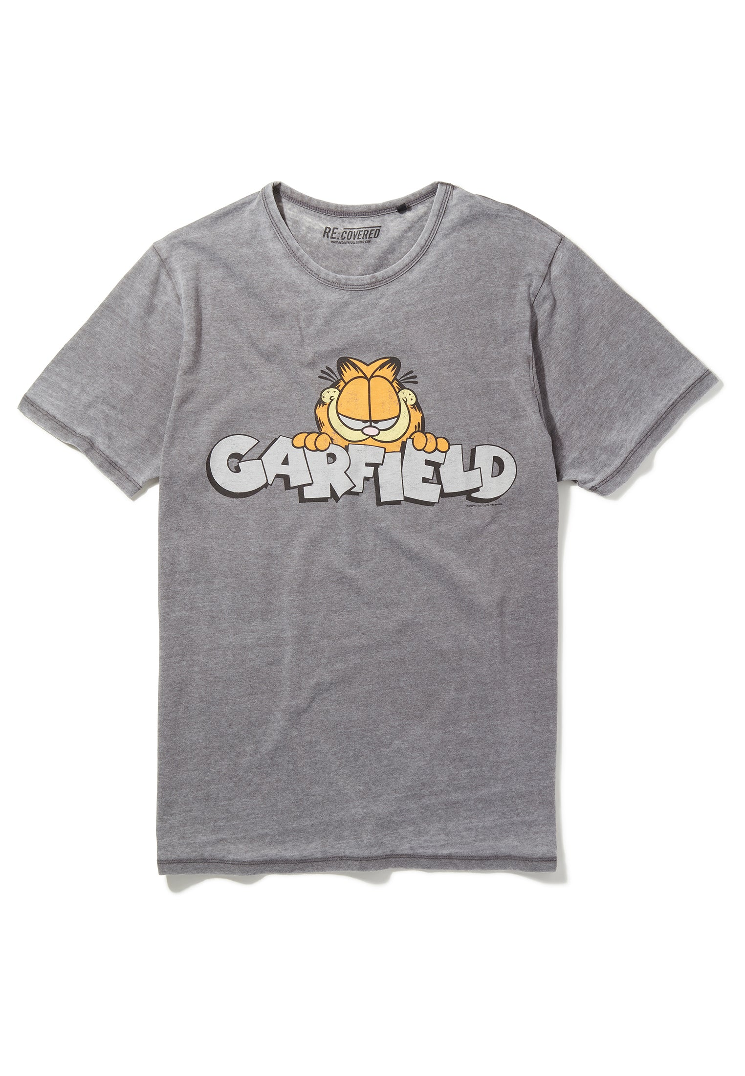 Recovered Garfield Vintage Peeking Logo Mid Grey T-Shirt