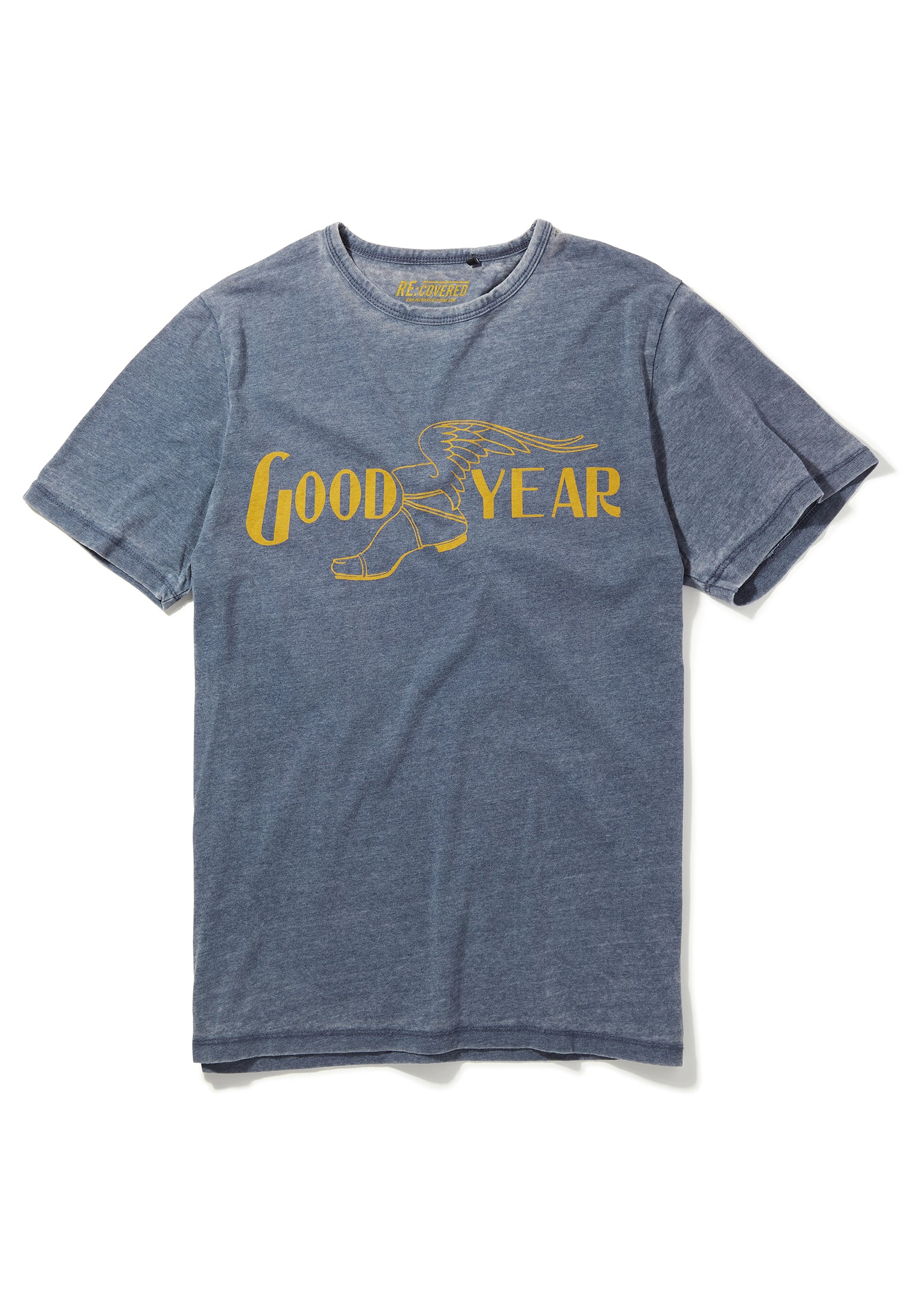 Recovered Goodyear Vintage Mono Colour Logo Blue T-Shirt