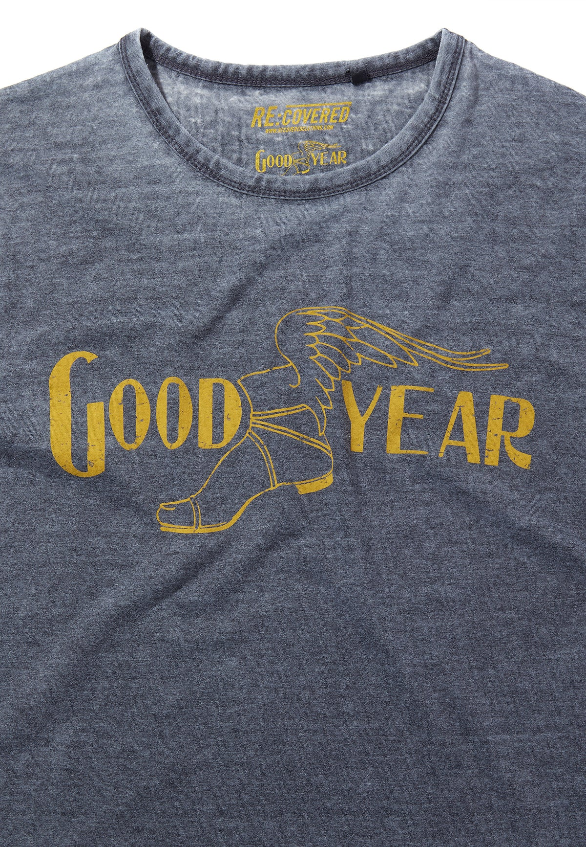 Recovered Goodyear Vintage Mono Colour Logo Charcoal T-Shirt
