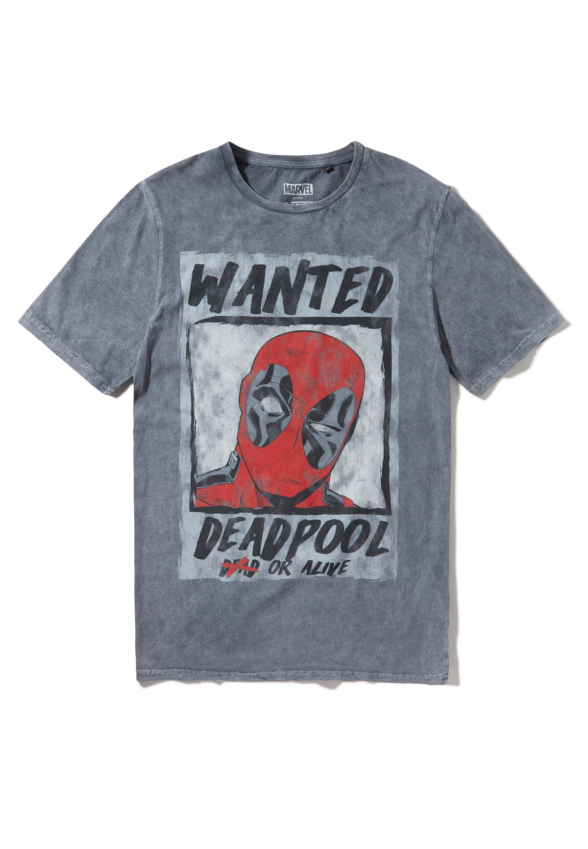 Recovered Marvel Deadpool Wanted Poster Charcoal T-Shirt