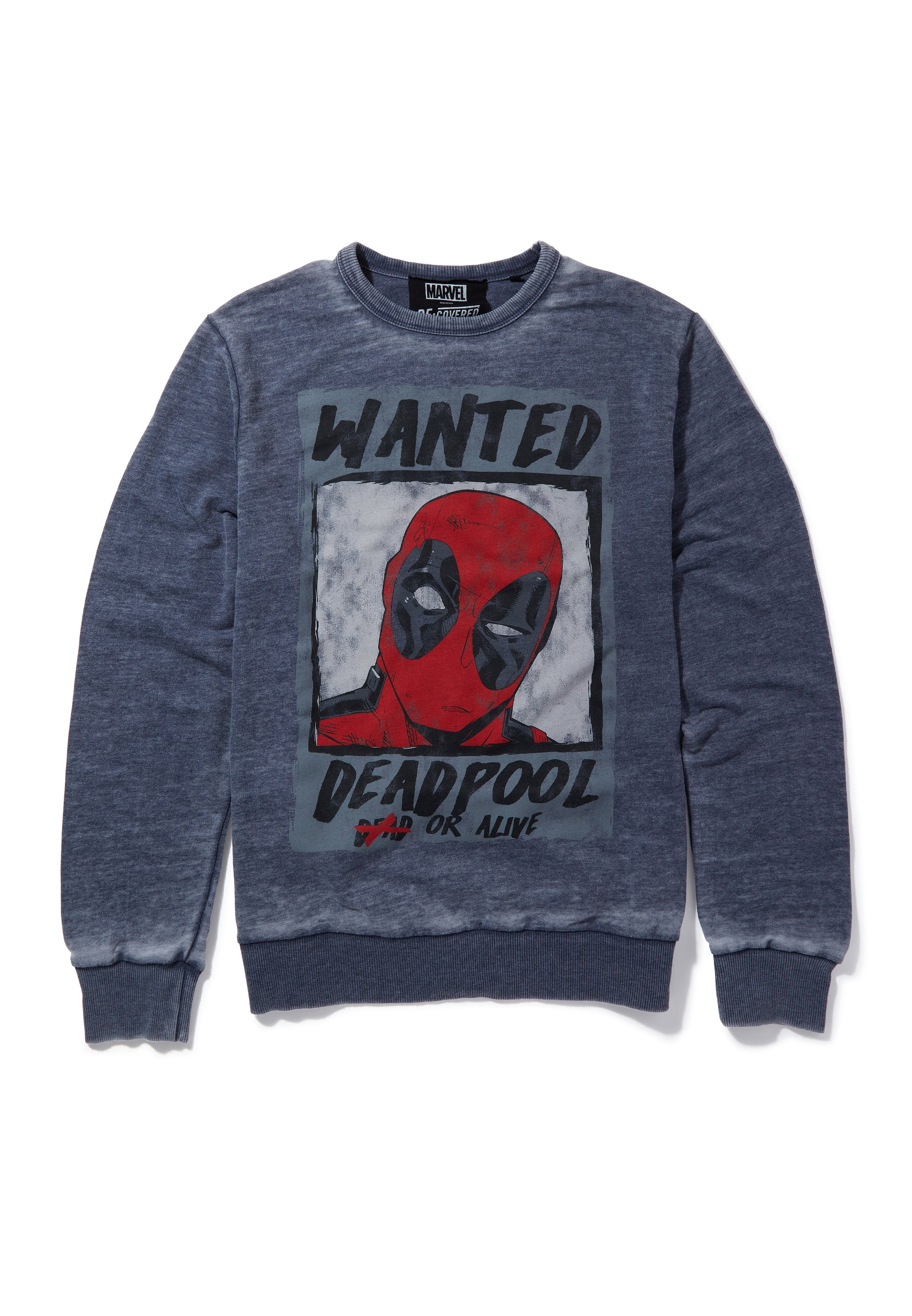 Recovered Marvel Deadpool Wanted Poster Blue Sweatshirt