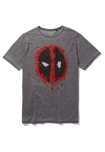 Recovered Marvel Deadpool Icon Paint Logo Mid Grey T-Shirt