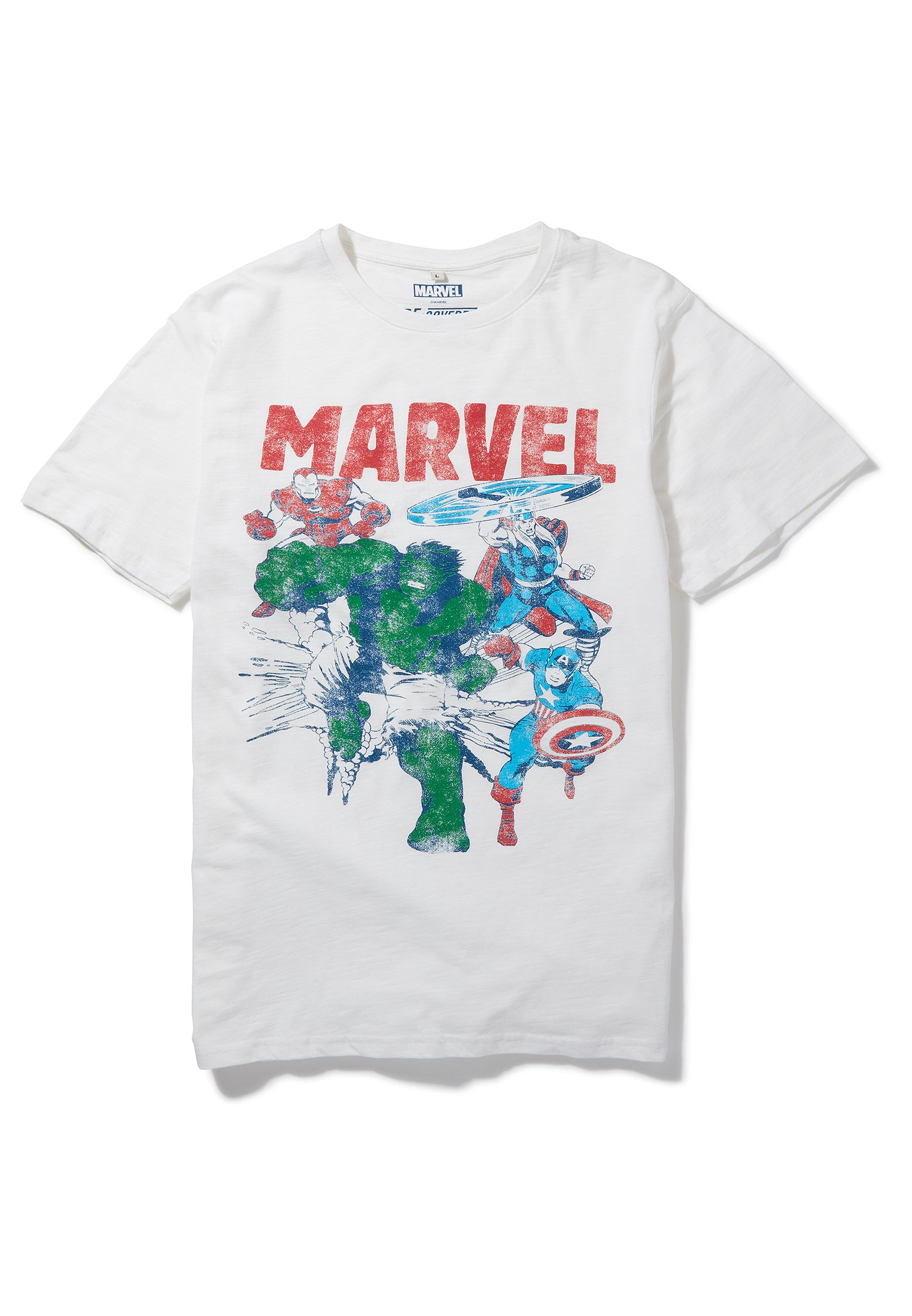 Recovered Marvel Iron Man, Thor, Captain America & The Hulk White T-Shirt