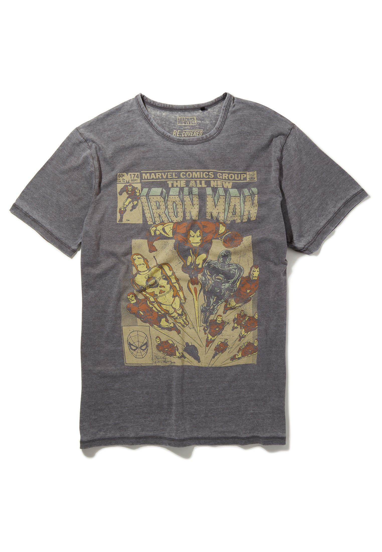 Recovered Marvel All New Iron Man Retro Comic Cover Mid Grey T-Shirt
