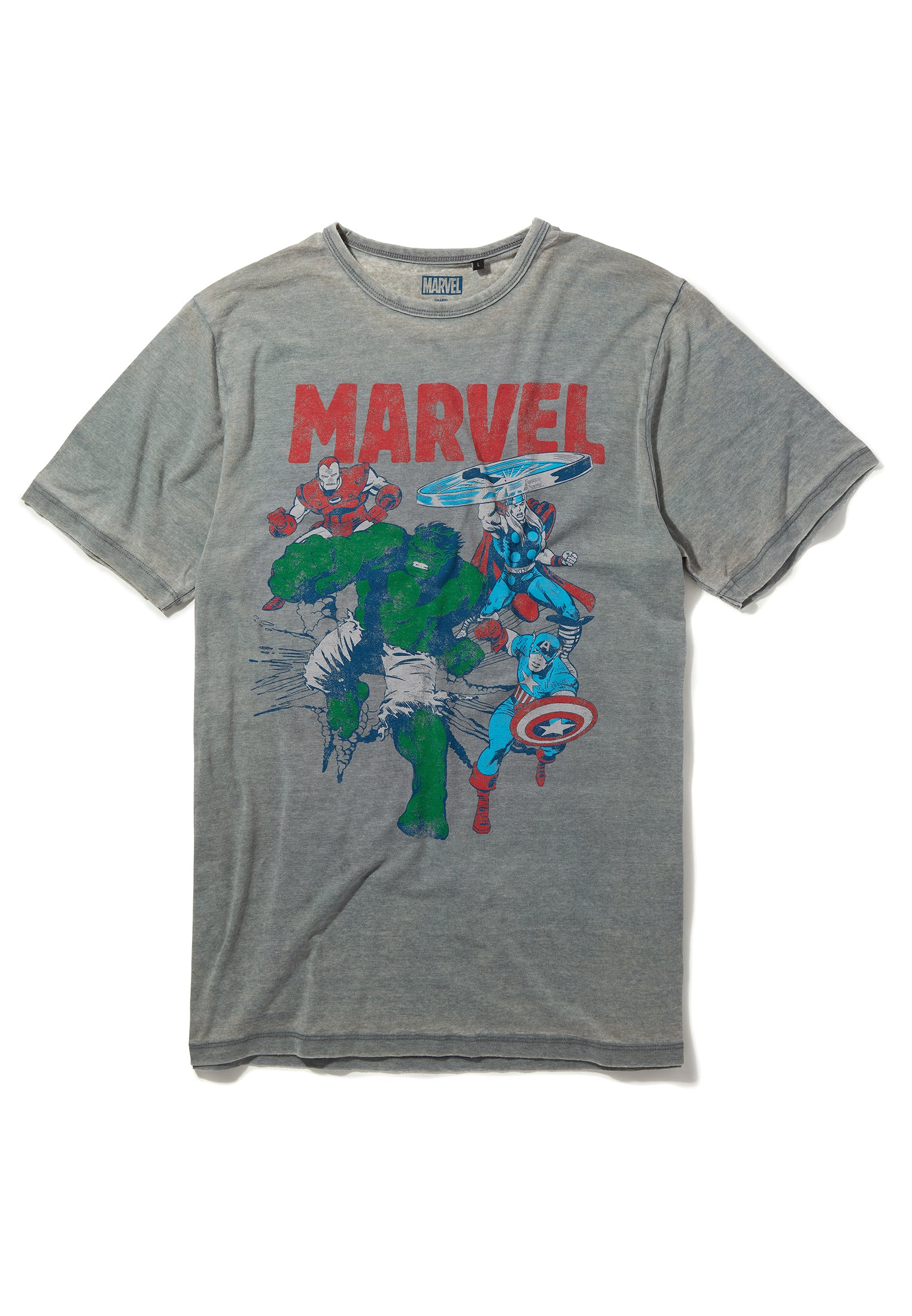 Recovered Marvel Iron Man, Thor, Captain America & The Hulk Light Grey T-Shirt