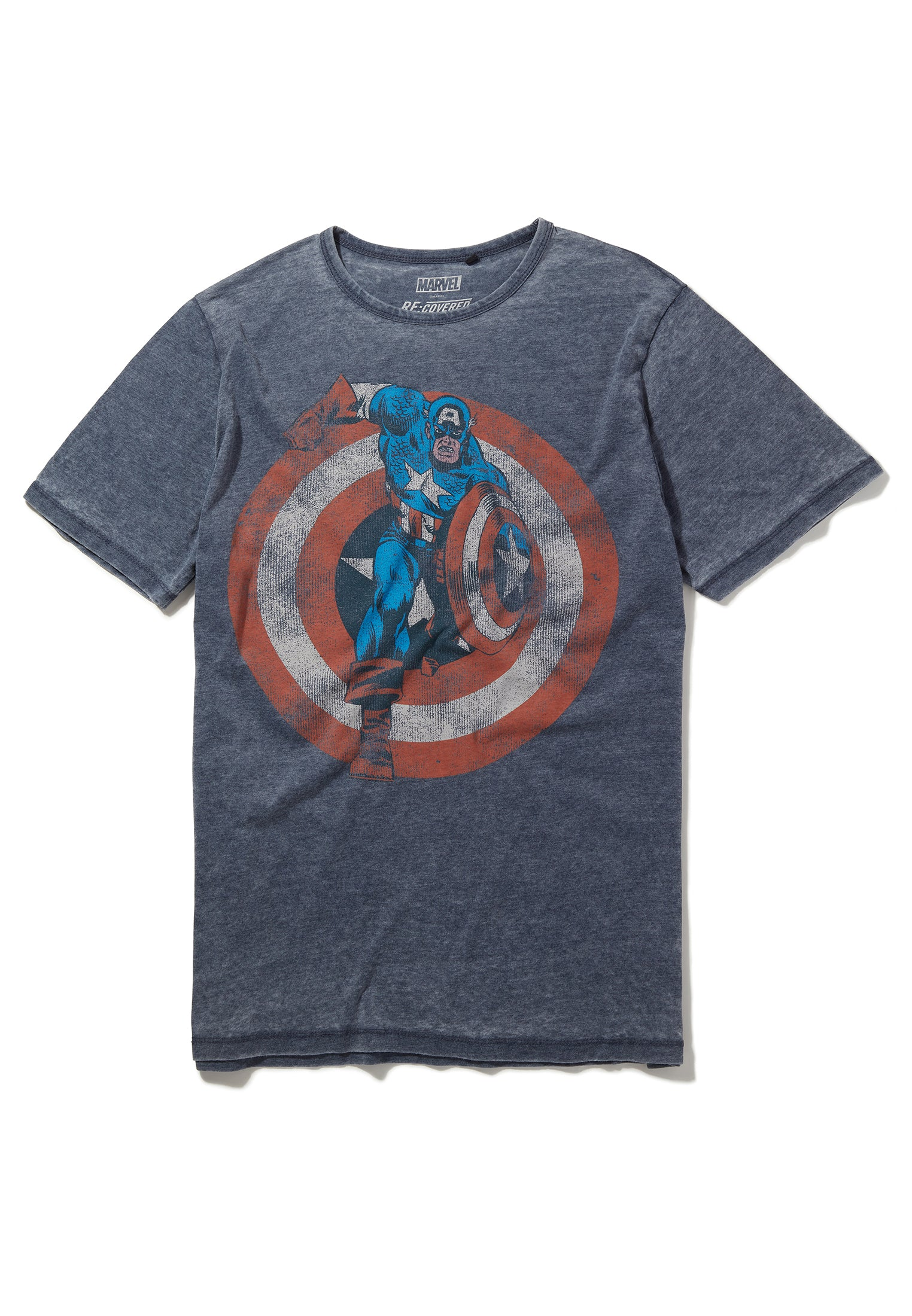 Recovered Marvel Captain America Shield Blue T-Shirt