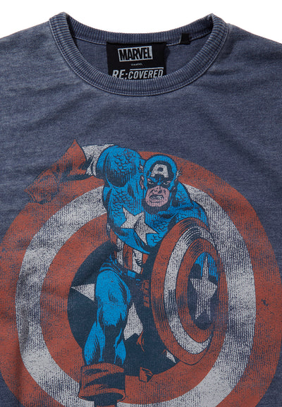 Recovered Marvel Captain America Shield Blue Sweatshirt