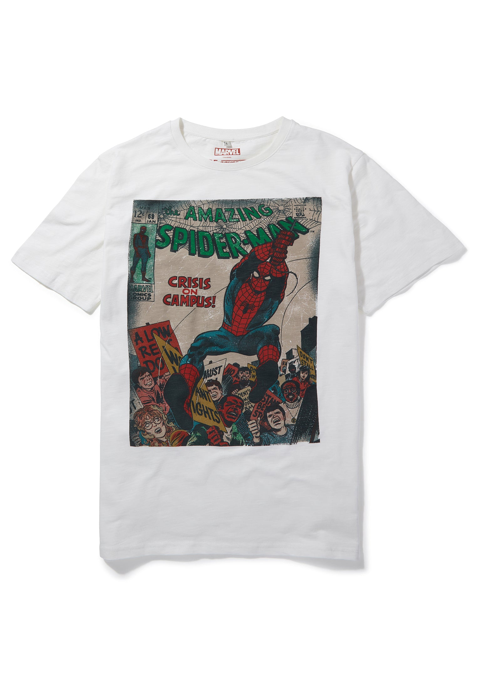 Recovered Marvel Spiderman Crisis on Campus Cover Ecru Slub T-Shirt