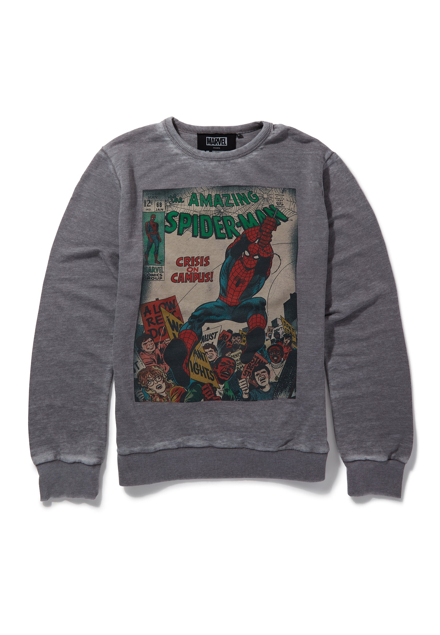 Recovered Marvel Spiderman Crisis on Campus Cover Mid Grey Sweatshirt