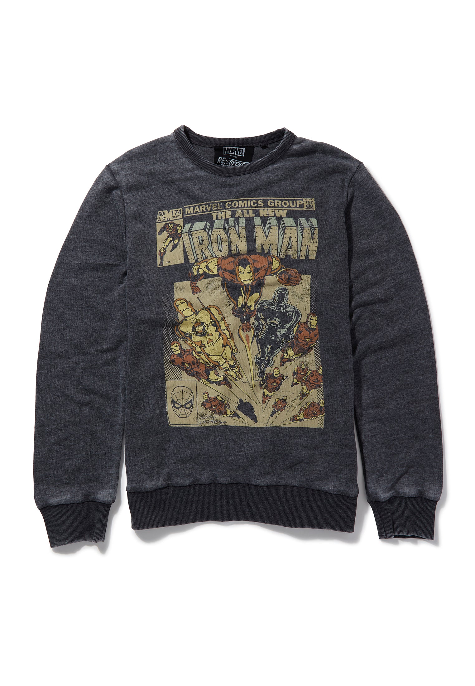 Recovered Marvel All New Iron Man Retro Comic Cover Charcoal Sweatshirt