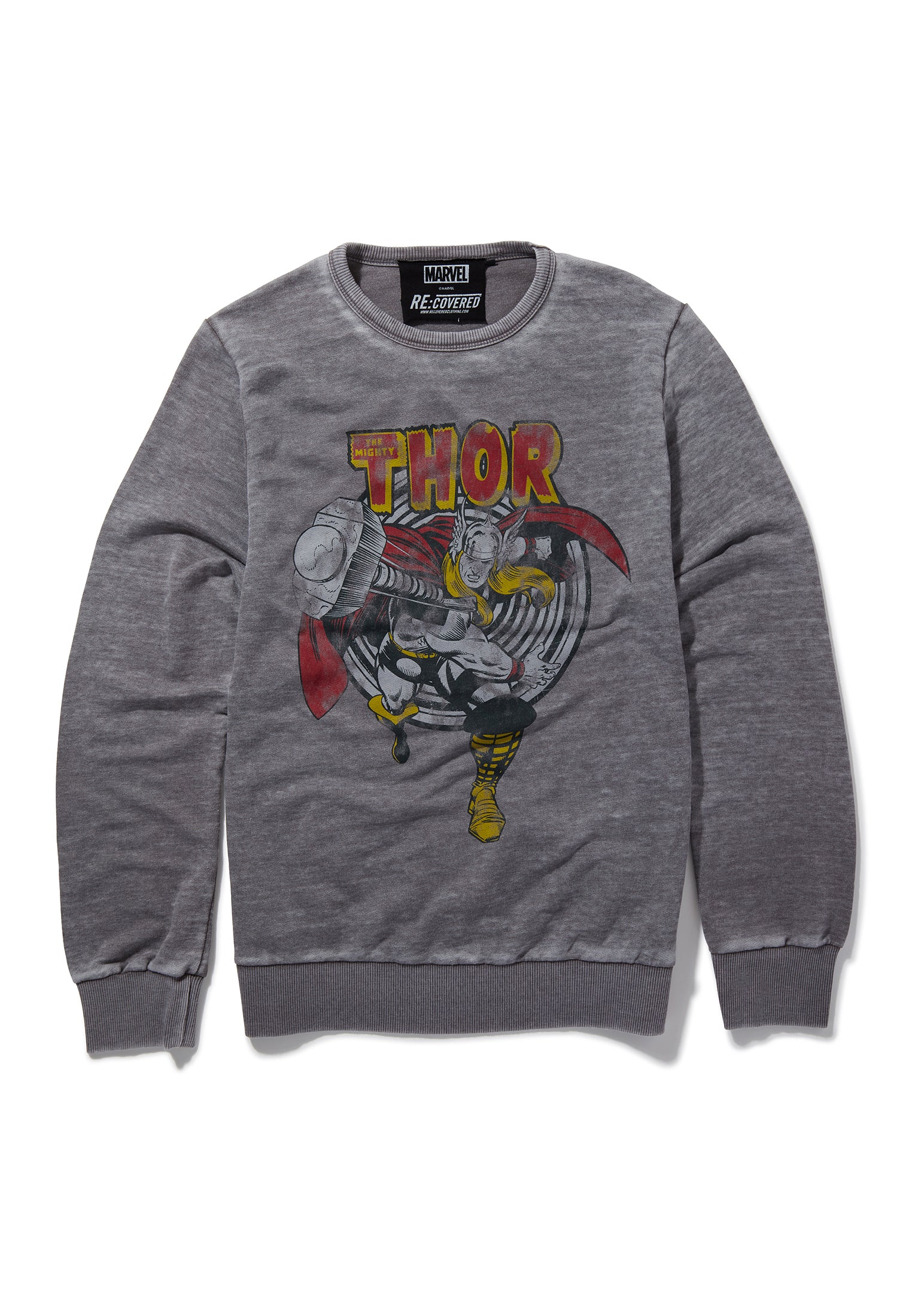 Recovered Marvel The Mighty Thor Retro Hammer Mid Grey Sweatshirt