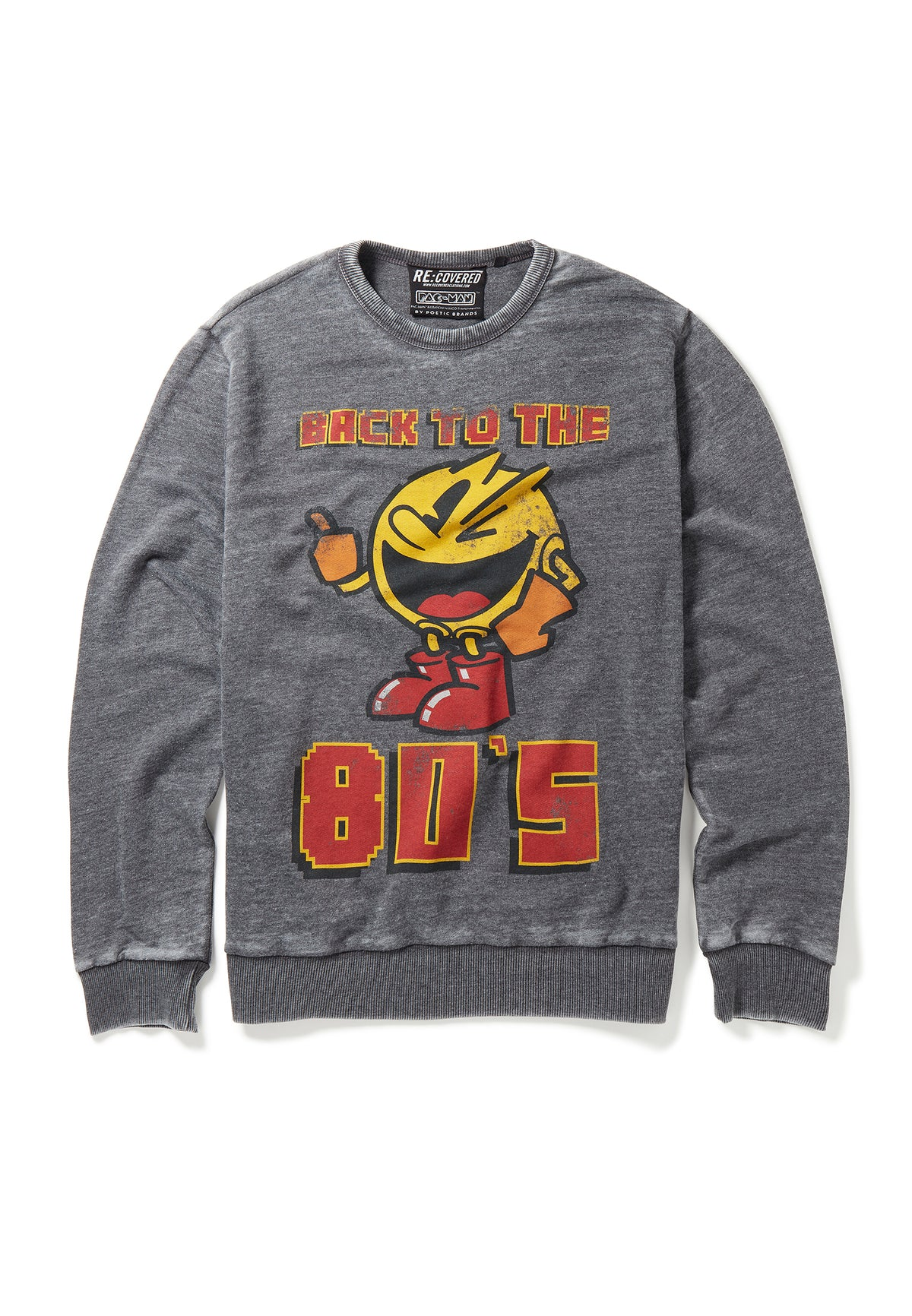 Recovered Pacman Retro Back To The 80's Charcoal Sweatshirt