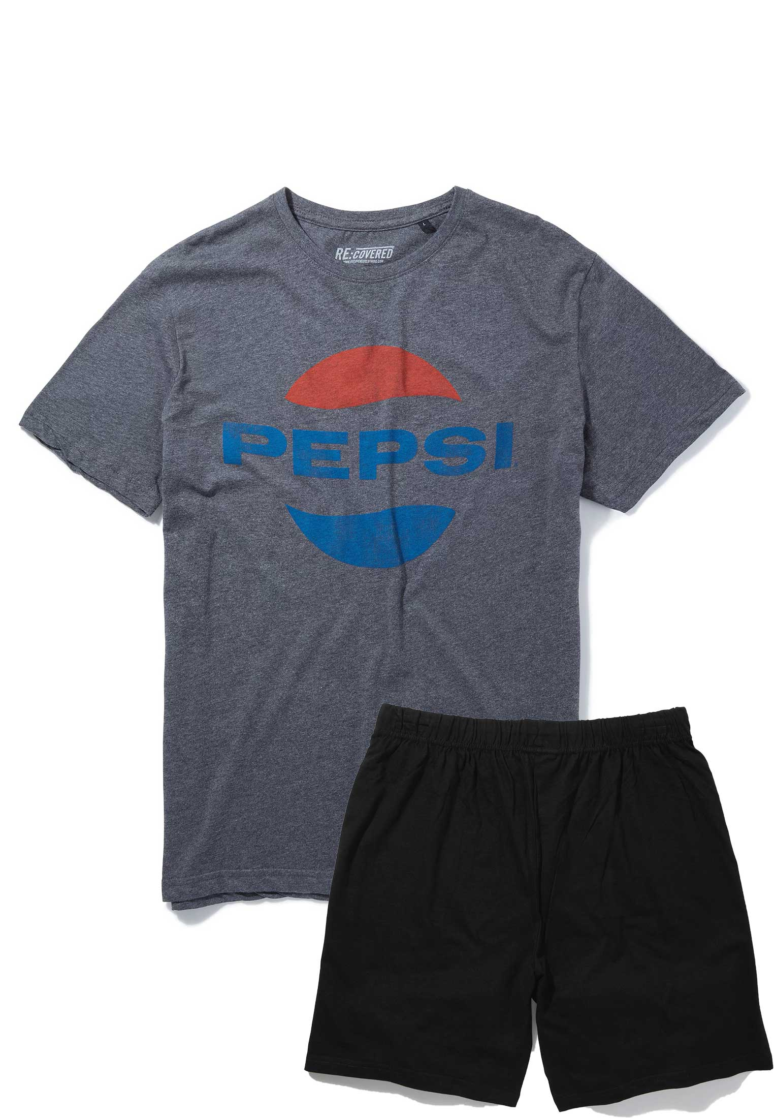 Pepsi Classic Oval Logo Charcoal & Black Pyjama Set by Re:Covered