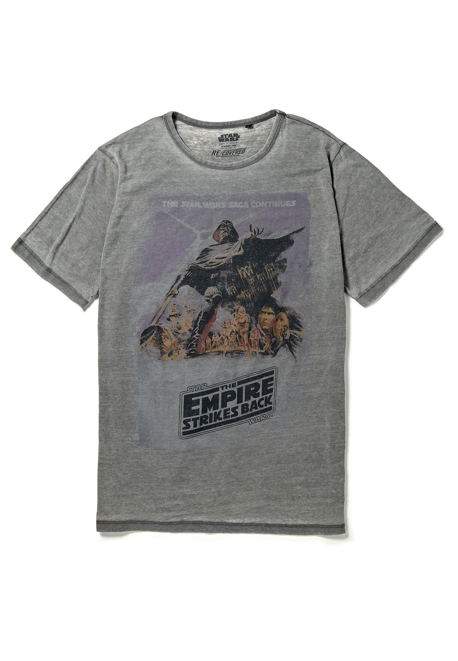 Recovered Star Wars Empire Strikes Back Poster Light Grey T-Shirt