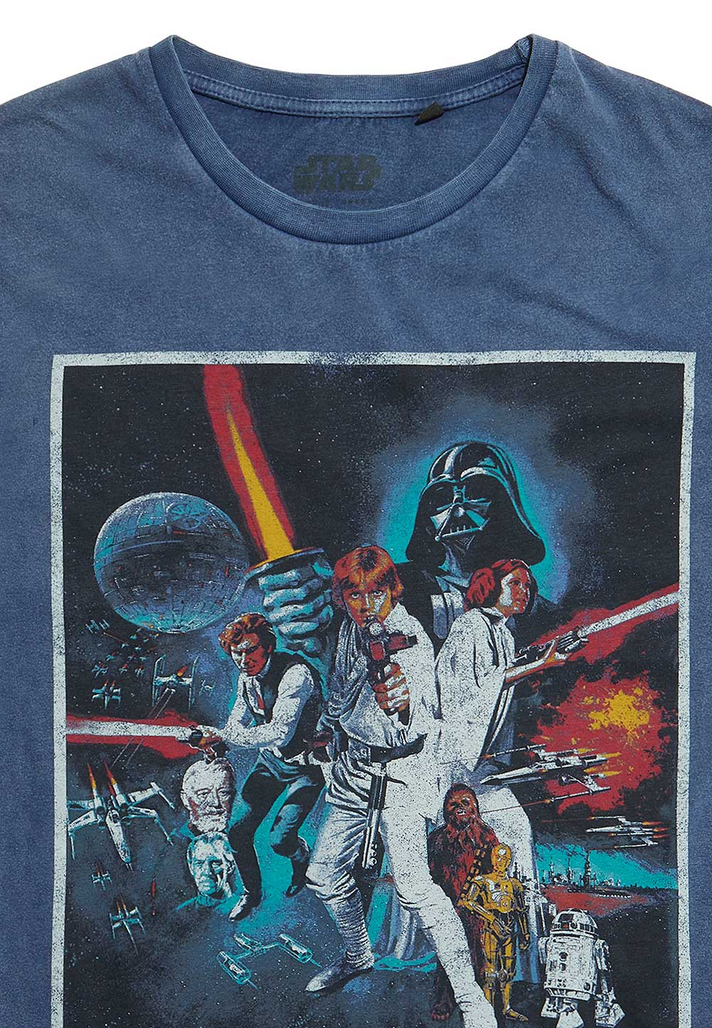 Recovered Star Wars Classic New Hope Poster Blue Acid Wash T-Shirt