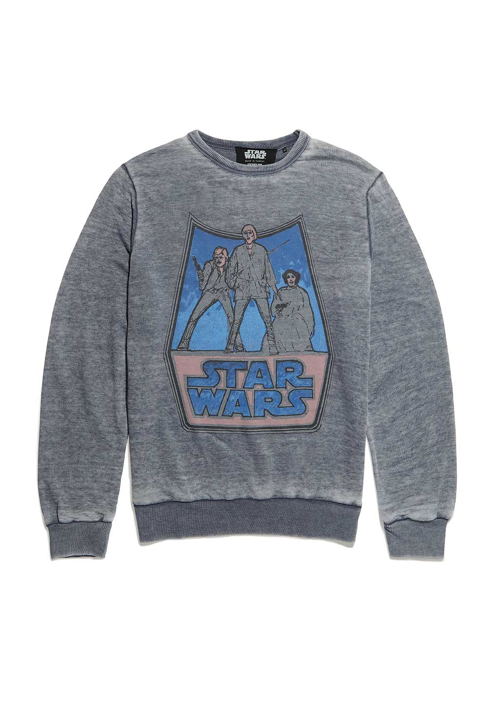 Recovered Star Wars Vintage Icon Sketch Blue Sweatshirt