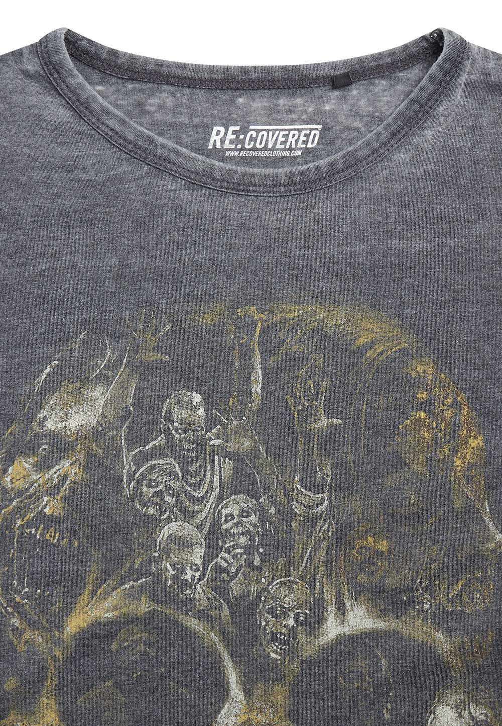 Recovered The Walking Dead Skull Charcoal T-Shirt