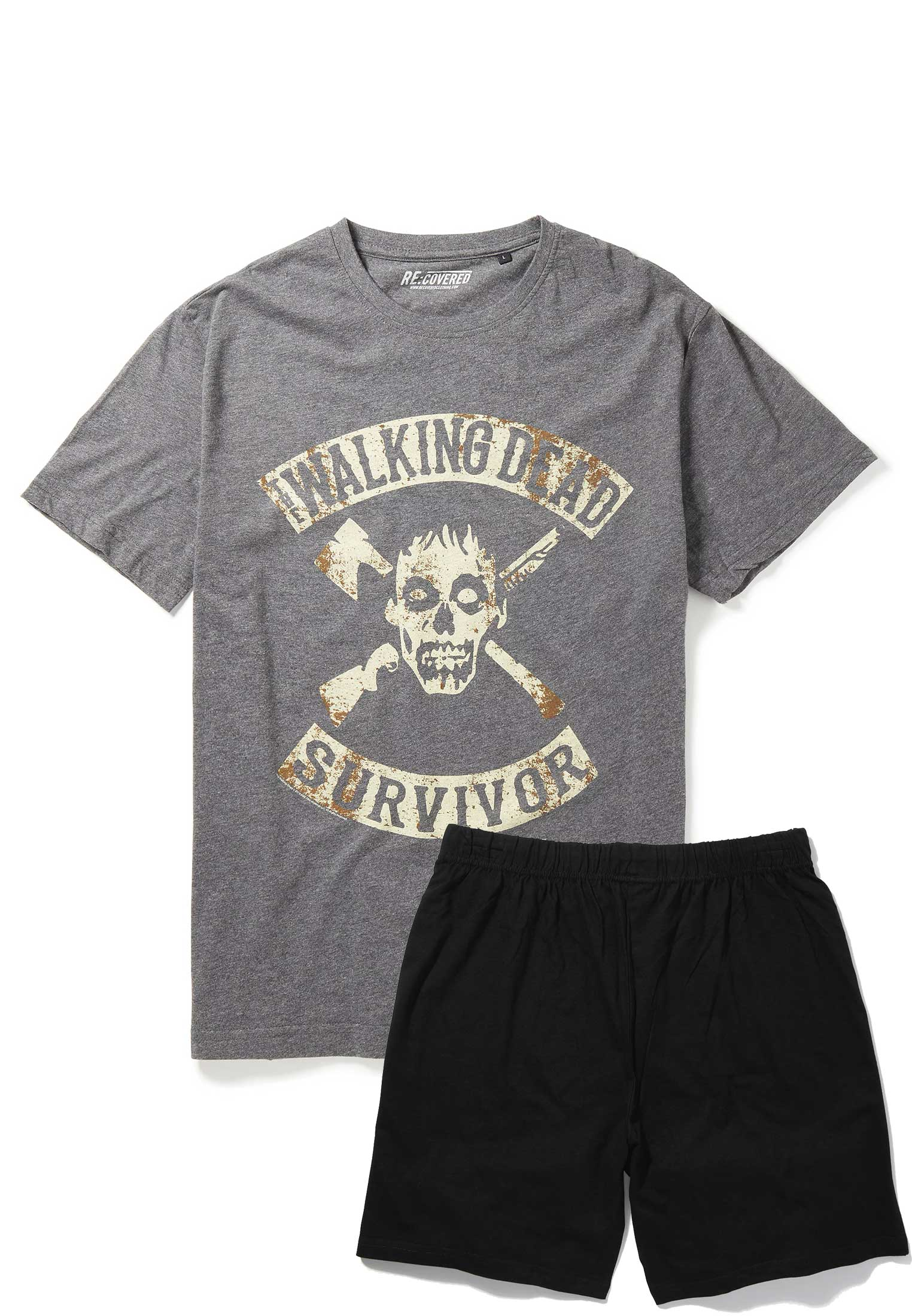 Recovered The Walking Dead Surviour Charcoal and Black Pyjama Set