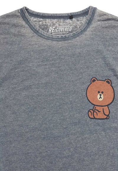 Recovered Line Friends Brown Chest Print Vintage Blue T-shirt