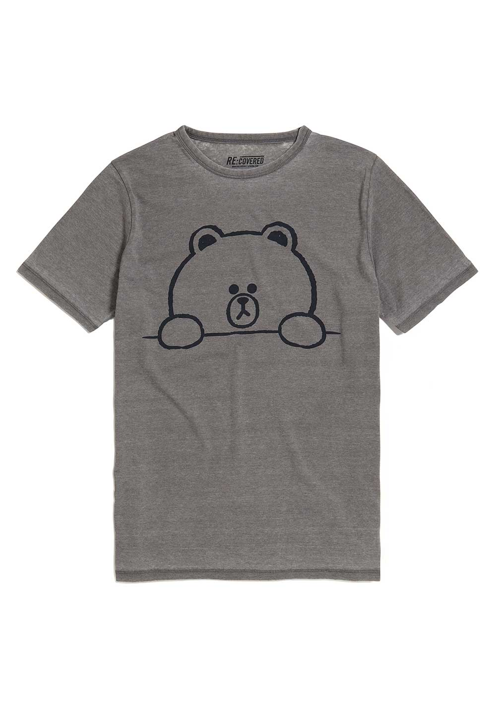 Recovered Line Friends Brown Outline Vintage Grey T-Shirt