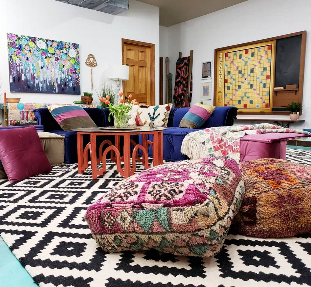 tina bousu family room basement club one room challenge eclectic twist