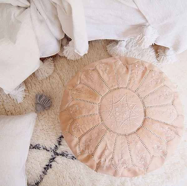 moroccan leather pouf round tan