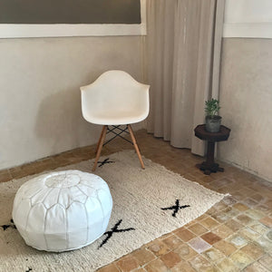 Handcrafted Round Natural Leather Pouf - White - souks du monde