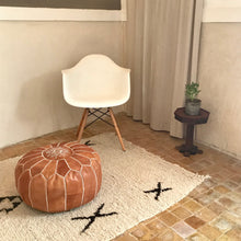 Load image into Gallery viewer, Handcrafted Round Natural Leather Pouf - Tan - souks du monde