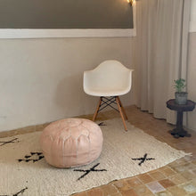 Load image into Gallery viewer, Handcrafted Natural Round Leather Pouf - Nude - souks du monde