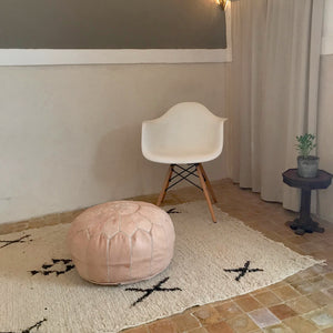 Handcrafted Natural Round Leather Pouf - Nude - souks du monde
