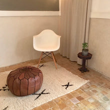 Load image into Gallery viewer, Handcrafted Round Natural Leather Pouf - Dark Brown with Dark Embroidery - souks du monde