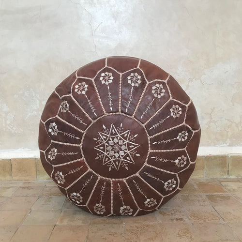 Handcrafted Natural Round Leather Pouf - Dark Brown with White Embroidery - souks du monde