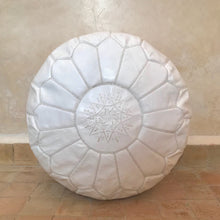 Load image into Gallery viewer, Handcrafted Round Natural Leather Pouf - White - souks du monde