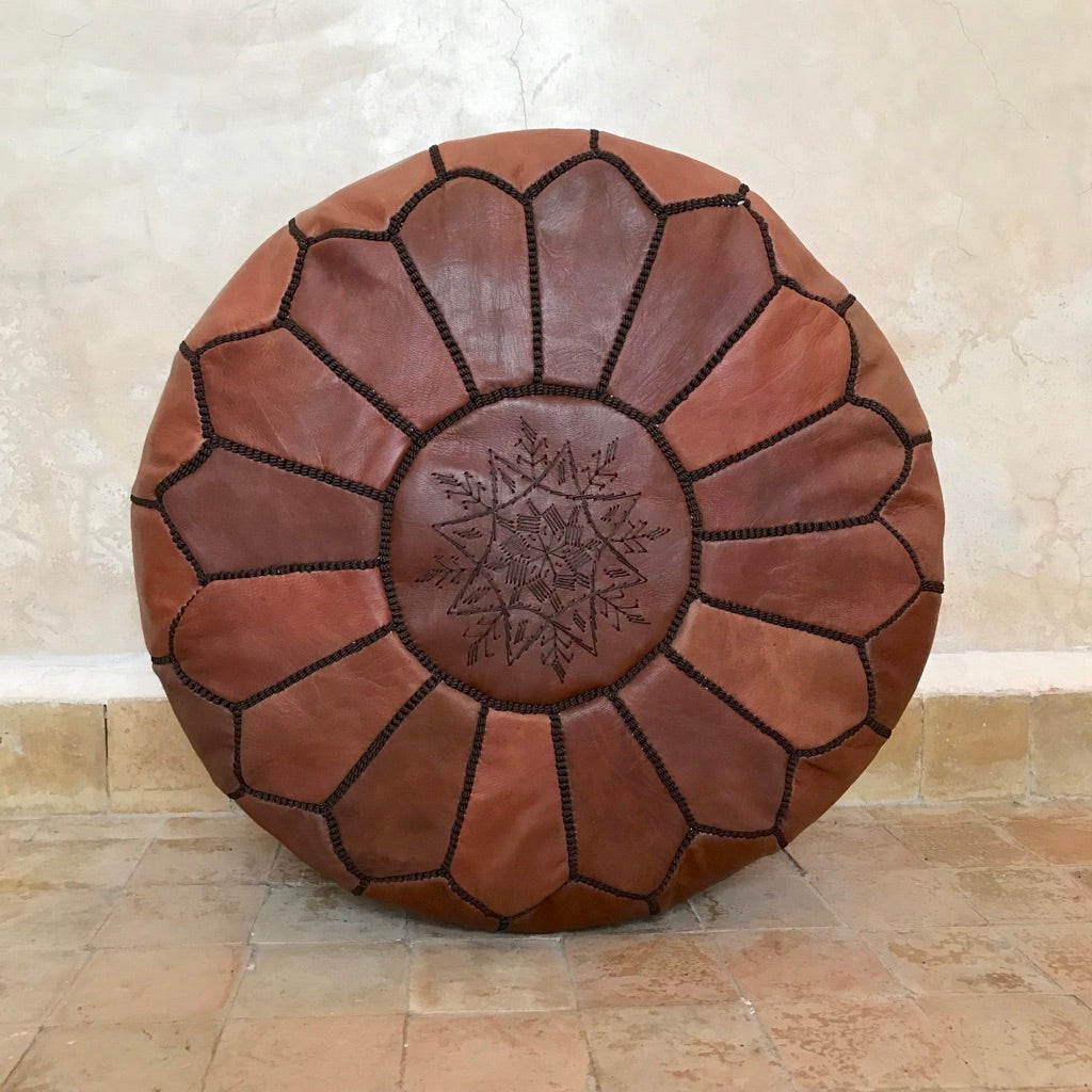 Handcrafted Round Natural Leather Pouf - Dark Brown with Dark Embroidery - souks du monde