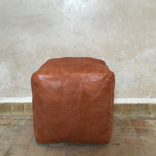 Load image into Gallery viewer, Handcrafted Natural Leather Simple Square Pouf- Tan - souks du monde