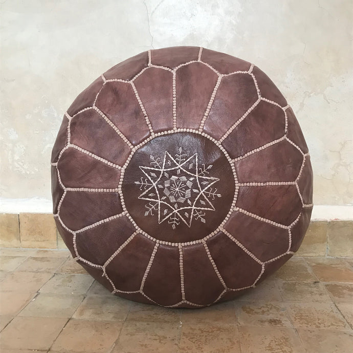 Handcrafted Round Natural Leather Pouf - Dark Brown - souks du monde