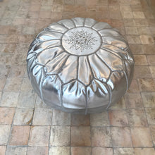 Load image into Gallery viewer, Handcrafted Round Pouf - Silver - souks du monde