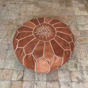 Handcrafted Round Natural Leather Pouf - Tan - souks du monde