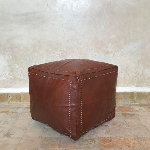 Handcrafted Square Natural Leather Embroidered Pouf- Brown - souks du monde
