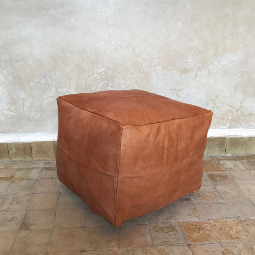 Handcrafted Natural Leather Simple Square Pouf- Tan - souks du monde