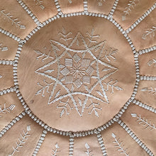 Load image into Gallery viewer, Handcrafted Natural Round Leather Pouf - Nude with Starburst Embroidery - souks du monde