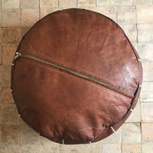 Load image into Gallery viewer, Handcrafted Natural Round Leather Pouf - Dark Brown with White Embroidery - souks du monde