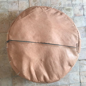 Handcrafted Natural Round Leather Pouf - Nude with Starburst Embroidery - souks du monde
