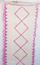 "Load image into Gallery viewer, Beni Ourain Pink Wool Runner 9'11"" x 2'7.5""/ 300cm x 80cm - souks du monde"
